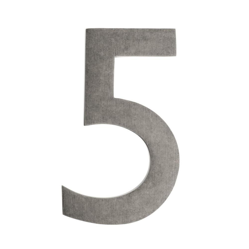 4 In. Antique Pewter Floating House Number 5