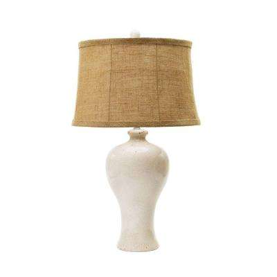 30 in. Aged Eggshell Crackle Ceramic Table Lamp