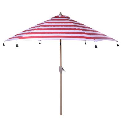 9 ft. Aluminum Drape Patio Umbrella with Tassels in Red Cabana Stripe