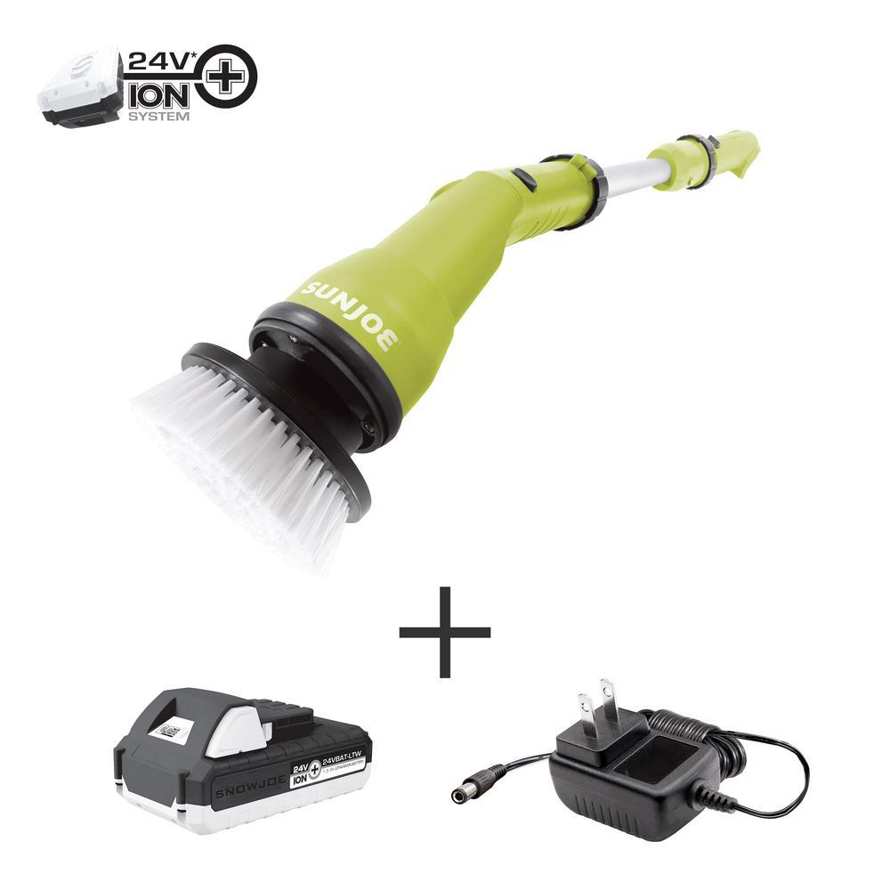SunJoe Sun Joe 24-Volt Cordless Handheld 360-Degree Spin Scrubber Brush Kit with 1.3 Ah Battery + Charger, Green