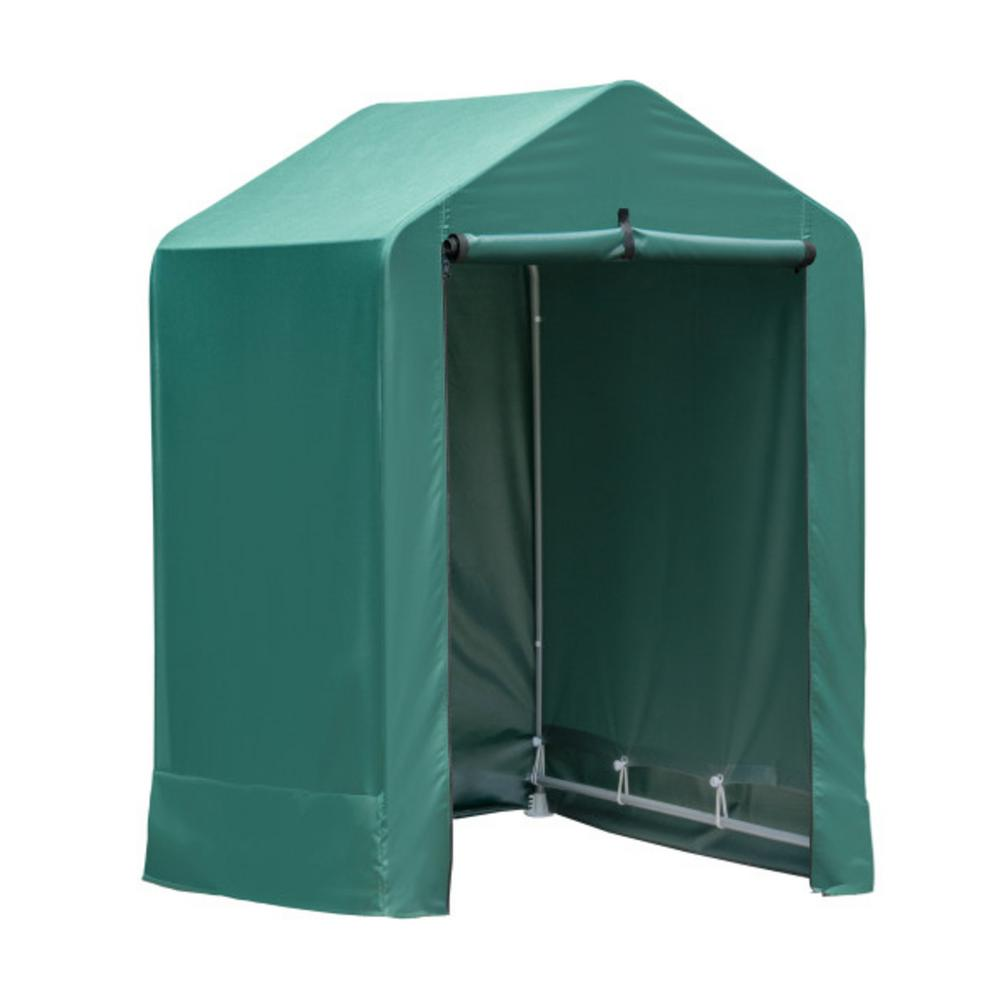 ShelterLogic 4 ft. x 4 ft. x 6 ft. Green Garden Shed with Metal Frame and Fabric Cover