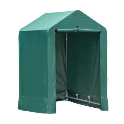 4 ft. x 4 ft. x 6 ft. Green Garden Shed with Metal Frame and Fabric Cover