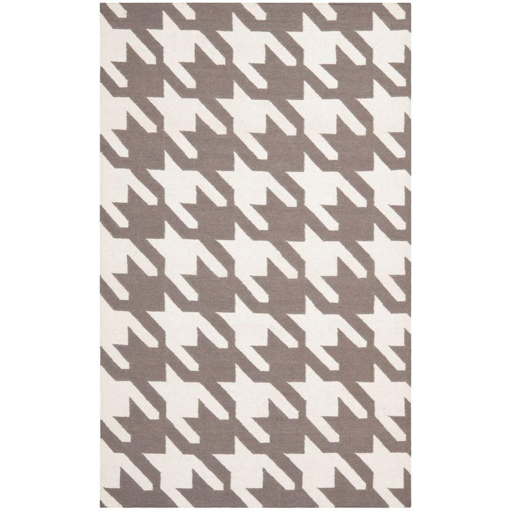 Safavieh Dhurries Grey/Ivory 6 ft. x 9 ft. Area Rug, Gray...