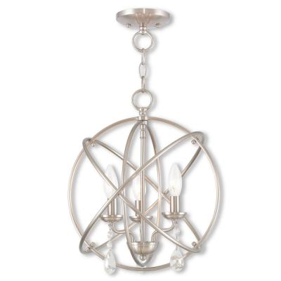 Aria 3-Light Brushed Nickel Convertible Chandelier