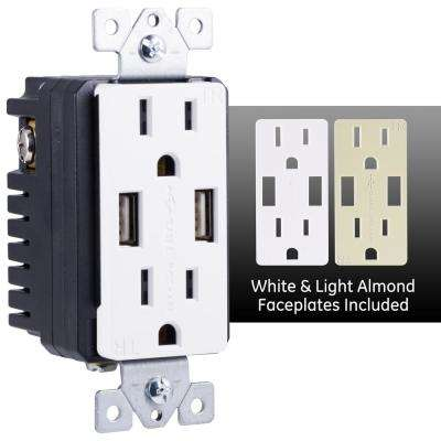 UltraPro 2-Outlet 2 USB Port In-Wall Receptacle, White/Light Almond