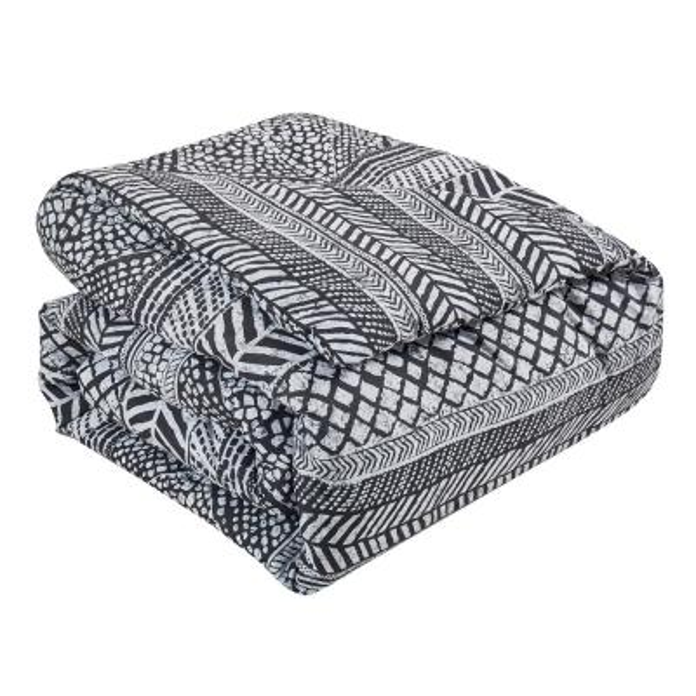 Mosaic 7-Piece Black/White Full Comforter Set