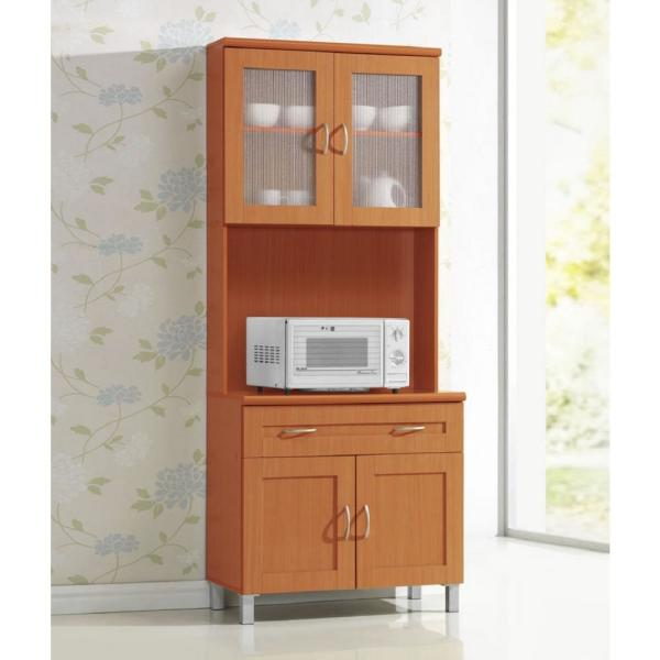 Hodedah China Cabinet Cherry With Microwave Shelf