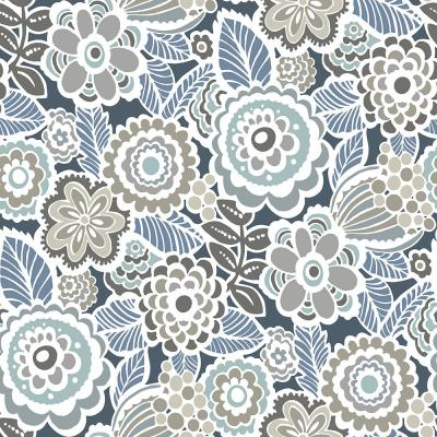 8 in. x 10 in. Dream on Navy Peel and Stick Wallpaper Sample