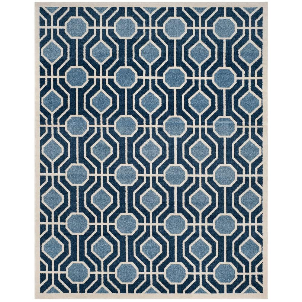 Amherst Light Blue/Navy 8 ft. x 10 ft. Indoor/Outdoor Area Rug