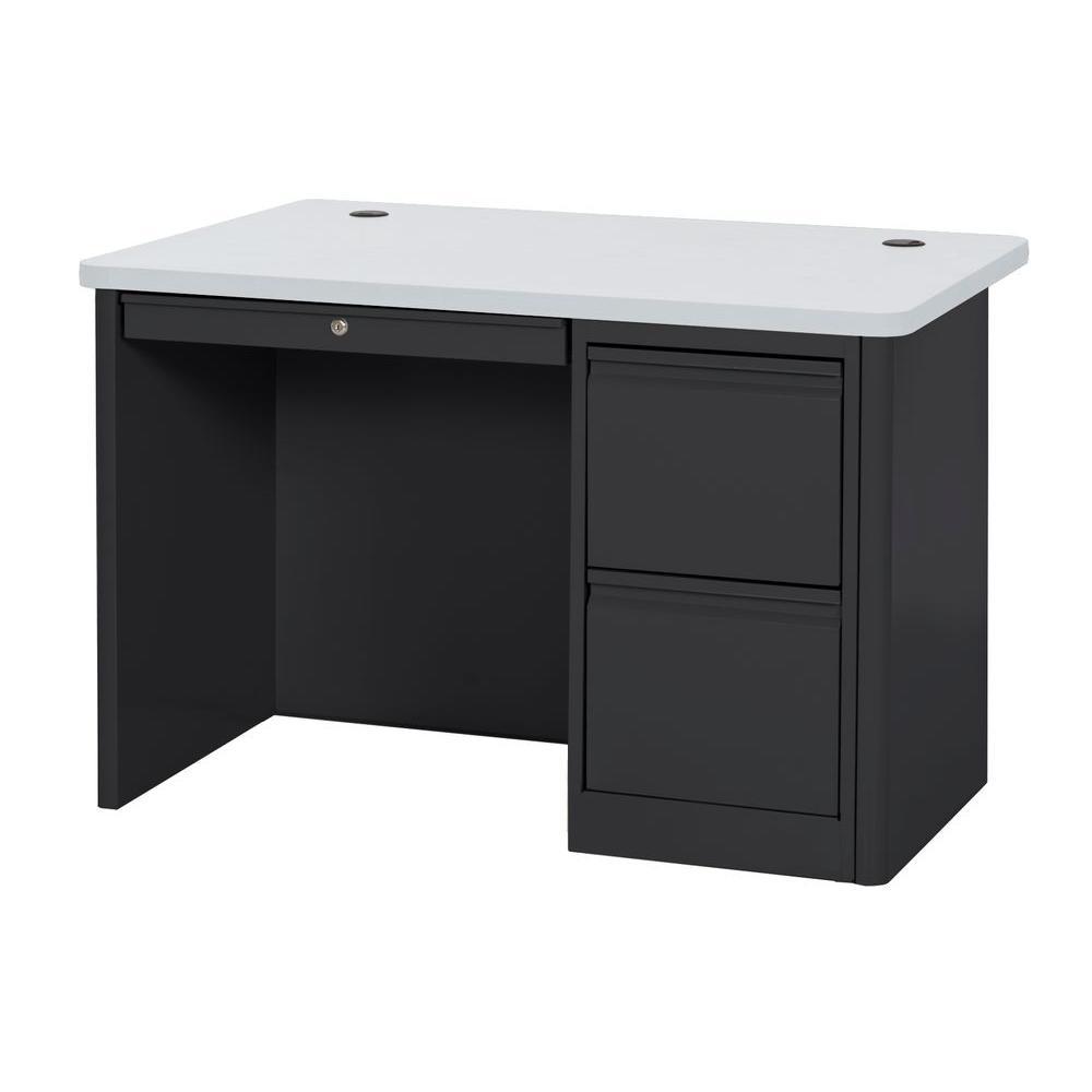 29.5 in. H x 48 in. W x 30 in. D 900 Series Single Pedestal Heavy Duty Teachers Desk in Black/Grey Nebula