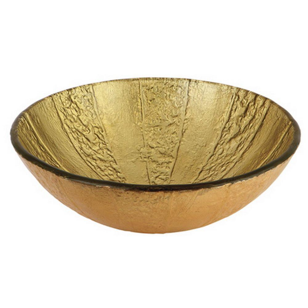 Kingston Brass Glass Vessel Sink in Gold and Brown
