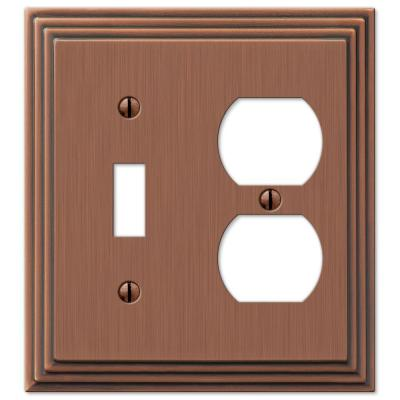 Tiered 2 Gang 1-Toggle and 1-Duplex Metal Wall Plate - Antique Copper