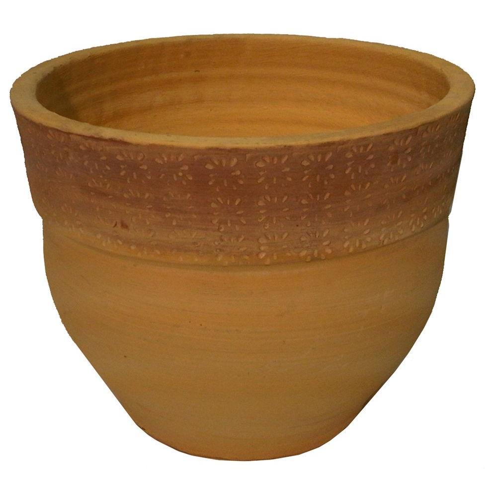 Margo Garden Products 13-3/4 in. Round Terra Cotta Dungari Daisy Clay Pot