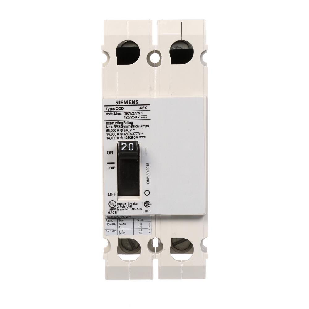 siemens 20 amp double pole type cqd cable in cable out din rail circuit breaker cqd220 the. Black Bedroom Furniture Sets. Home Design Ideas