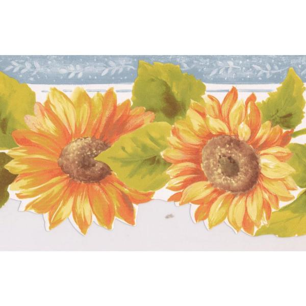 Orange Yellow Sunflowers Silver Grey Trim Scalloped Floral Prepasted  Wallpaper Border