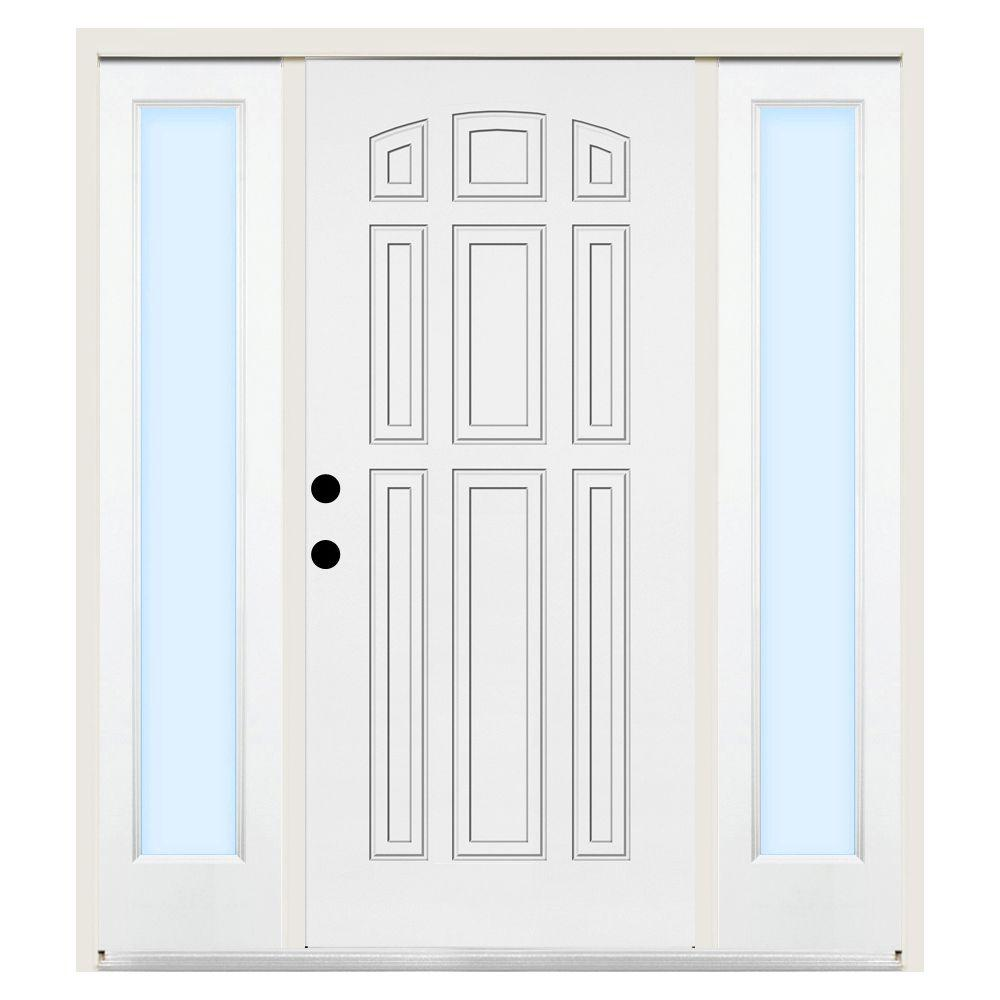 Steves & Sons 68 in. x 80 in. 9-Panel Right-Hand Primed Steel Prehung Front Door w/ 14 in. Clear Glass Sidelite and 6 in. Wall