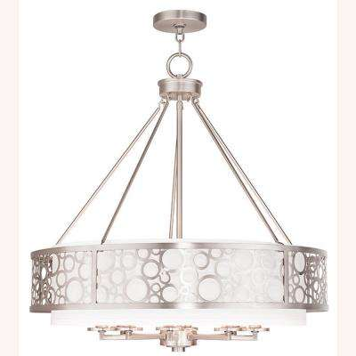 8-Light Brushed Nickel Chandelier with Hand Crafted White Fabric Hardback Shade