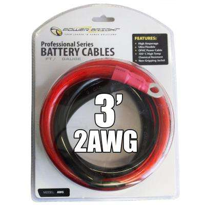 2 AWG Gauge 2000-Watt - 2500-Watt 3 ft. Professional Series Inverter Cables
