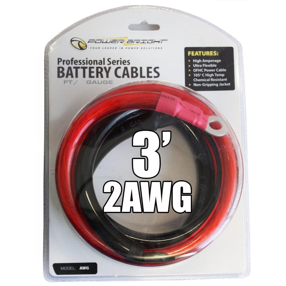 Power Bright 2 Awg Gauge 2000 Watt 2500 Watt 3 Ft Professional Series Inverter Cables 2awg3 The Home Depot