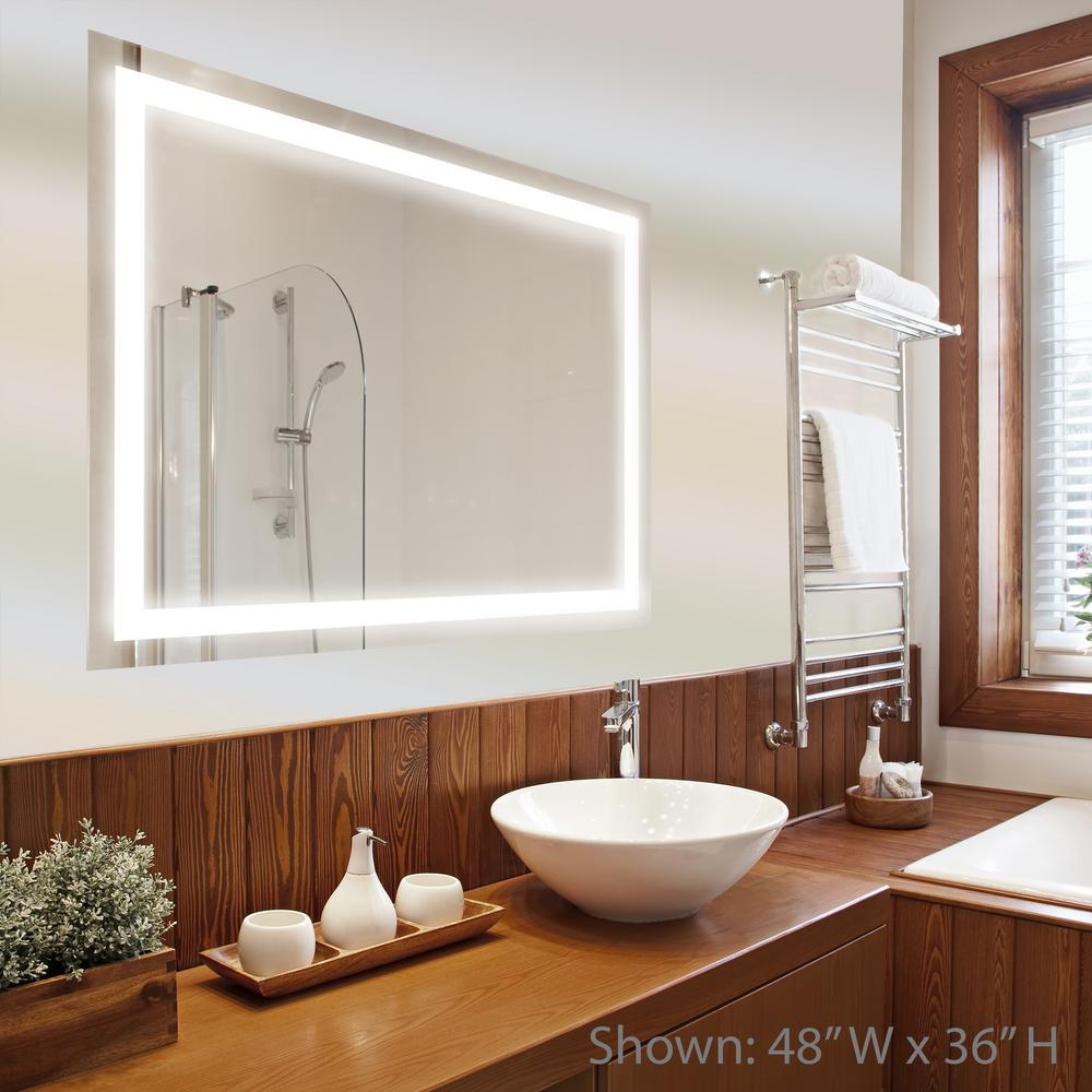 H LED Wall Mounted Backlit Vanity Bathroom LED Mirror With Touch On/Off  Dimmer M13AT6032W   The Home Depot