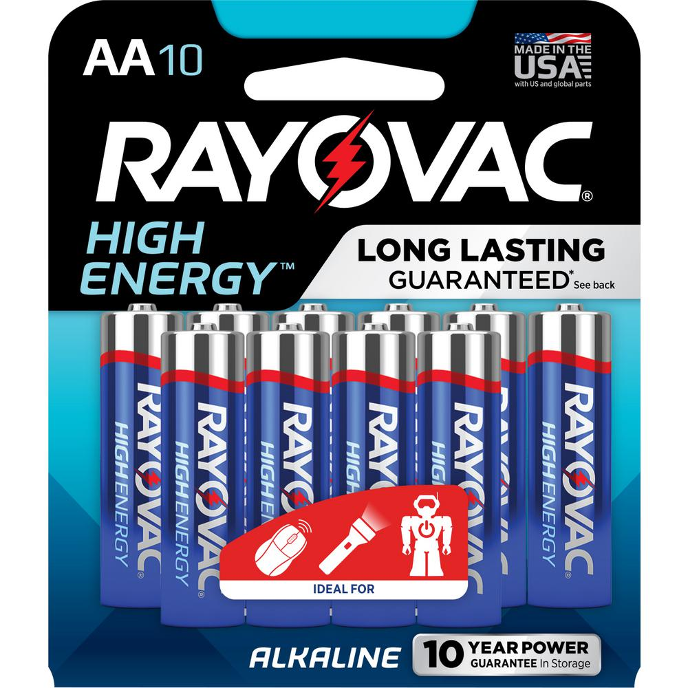 rayovac high energy alkaline aa 1 5 volt battery 10 pack 815 10tj the home depot. Black Bedroom Furniture Sets. Home Design Ideas