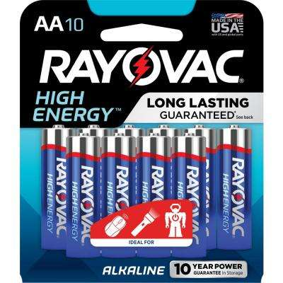 High Energy Alkaline AA/1.5 Volt Battery (10-Pack)