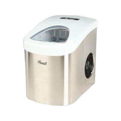 Stainless Steel Silver and White 26.5 lbs Portable Ice Maker