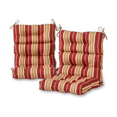 Roma Stripe Outdoor High Back Dining Chair Cushion (2-Pack)