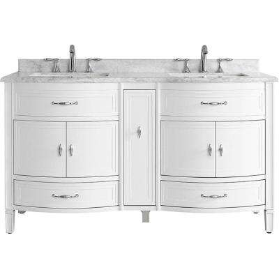 Dacosti 60 in. W x 22 in. D Vanity in White with Marble Vanity Top in White with White Sink