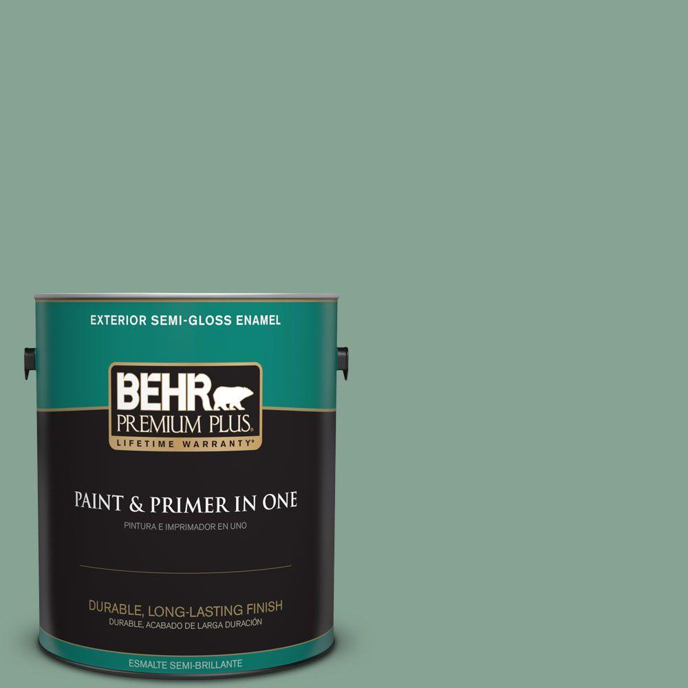1 gal. #T16-12 Modern Mint Semi-Gloss Enamel Exterior Paint