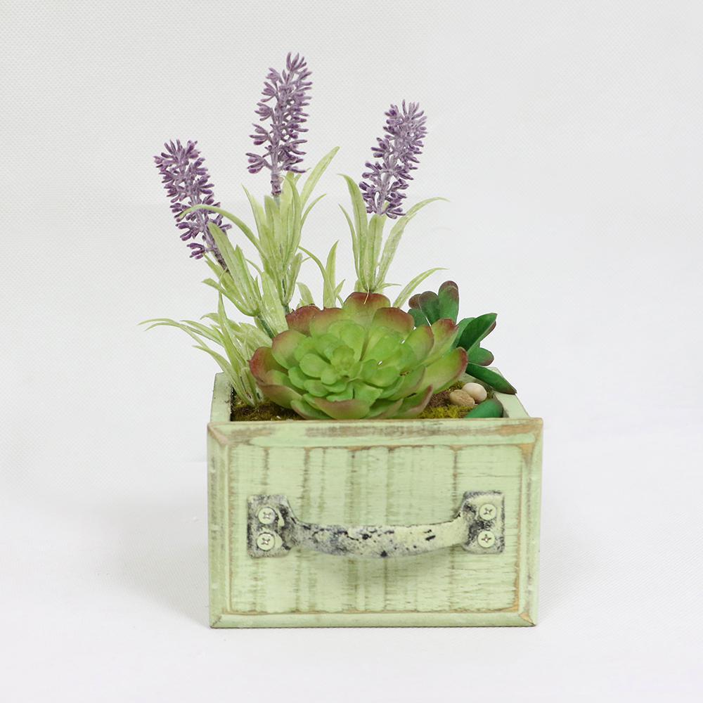 7 in. Indoor Artificial Succulents In Desk Top Wood Planter