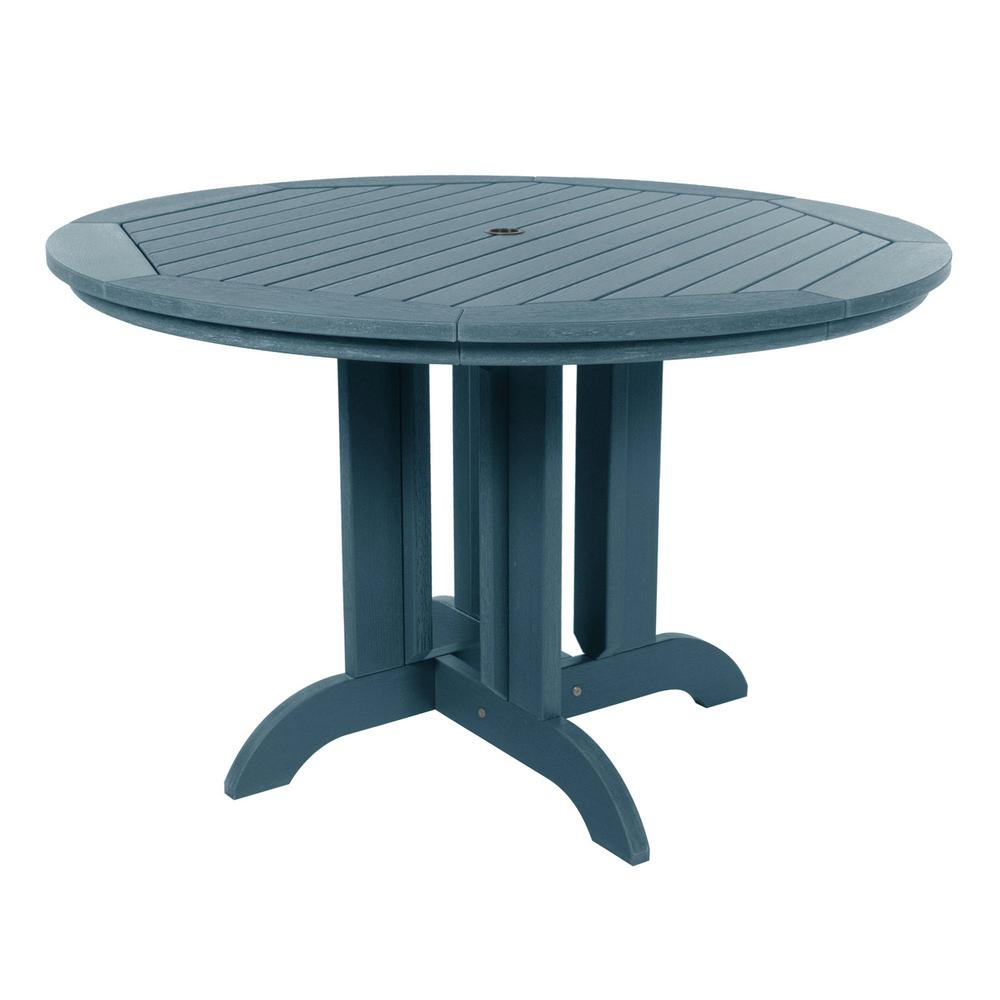 Highwood Nantucket Blue Round Recycled Plastic Outdoor ...