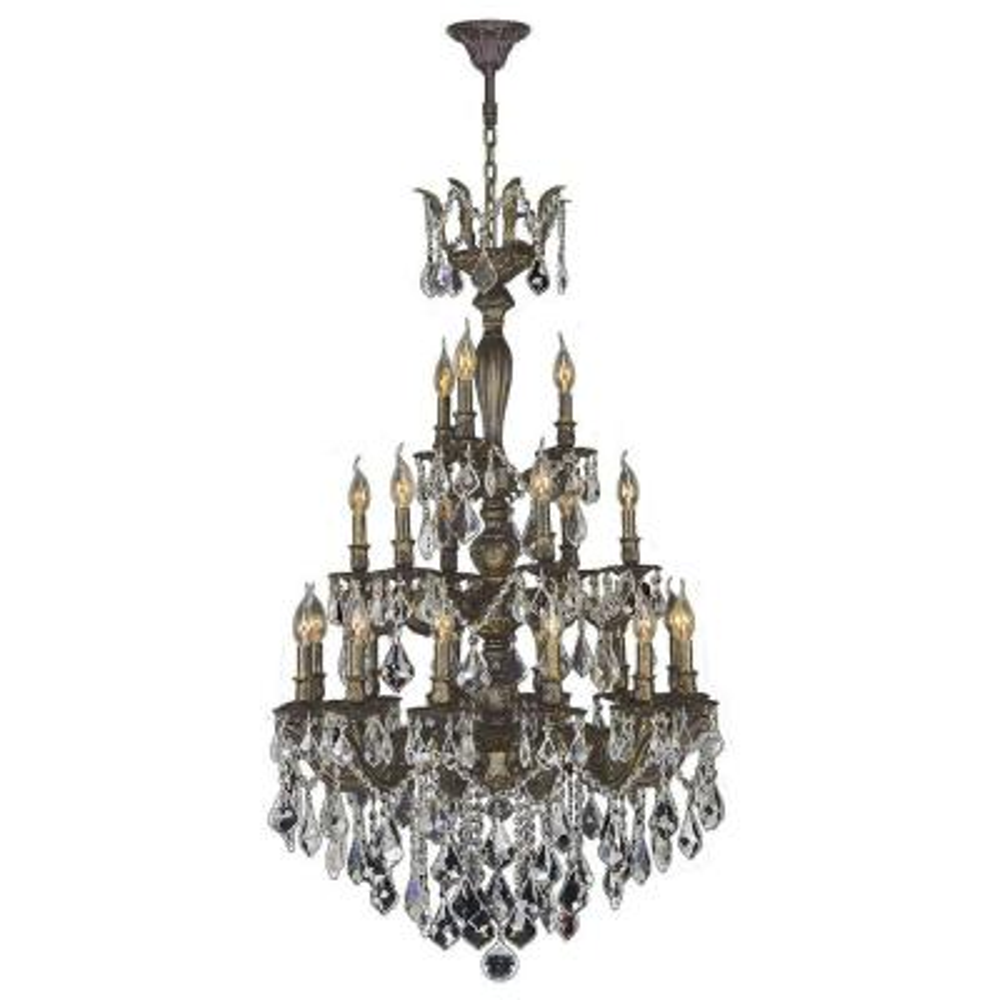 Versailles Collection 21-Light Antique Bronze Crystal Chandelier