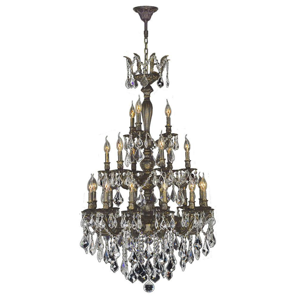 Worldwide lighting metropolitan 6 light antique bronze crystal versailles collection 21 light antique bronze crystal chandelier aloadofball Image collections