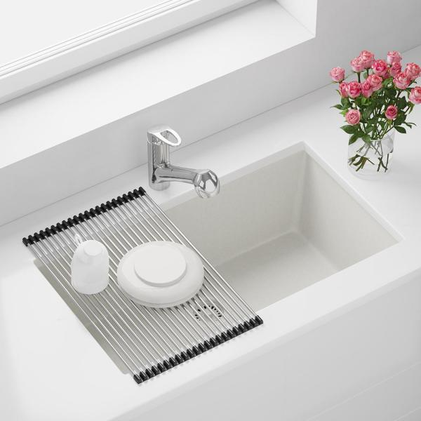 Mr Direct Undermount Granite Composite 32 5 8 In Single Bowl Kitchen Sink Kit In White 848 W Rg The Home Depot