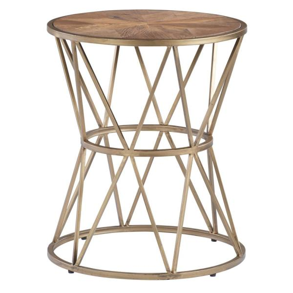 Gold Metal Round Coffee Table.Soho Sundance Gold Metal Round End Table