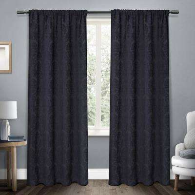 Damask Navy Chenille Heavyweight Jacquard Medallion Rod Pocket Top Window Curtain