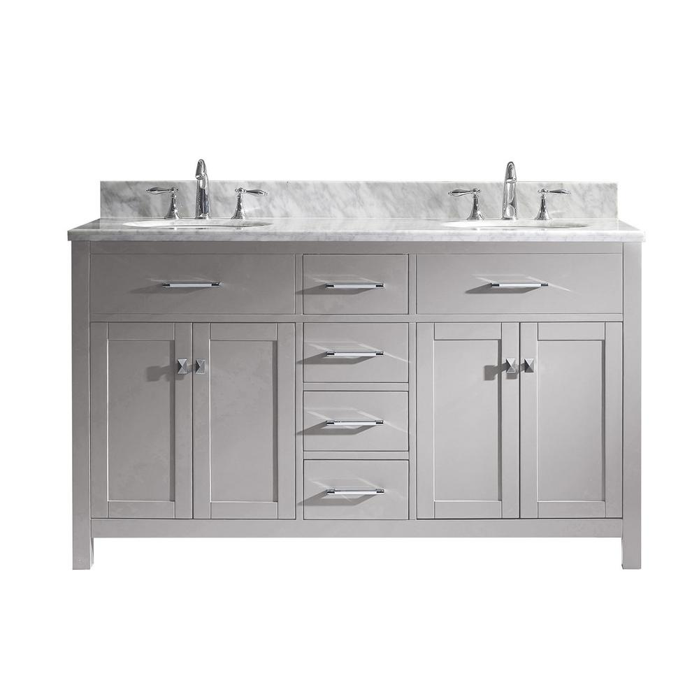 Virtu USA Caroline 60 in. W Bath Vanity in Cashmere Gray with Marble Vanity Top in White with Round Basin