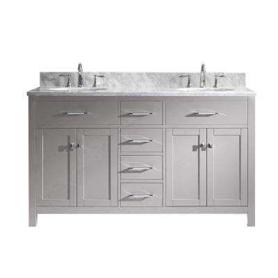 Caroline 60 in. W Bath Vanity in Cashmere Gray with Marble Vanity Top in White with Round Basin