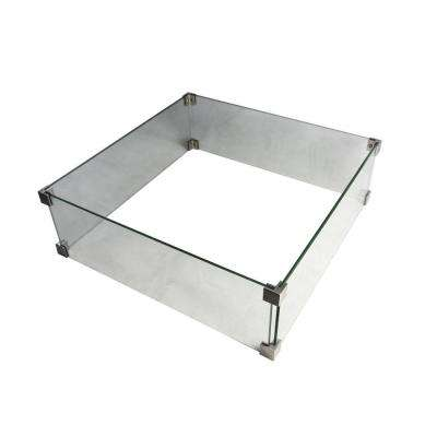 Manhattan 22 in. x 7 in. Square Tempered Glass Outdoor Fire Pit Table Wind Screen with Stainless Steel Attachment Clips