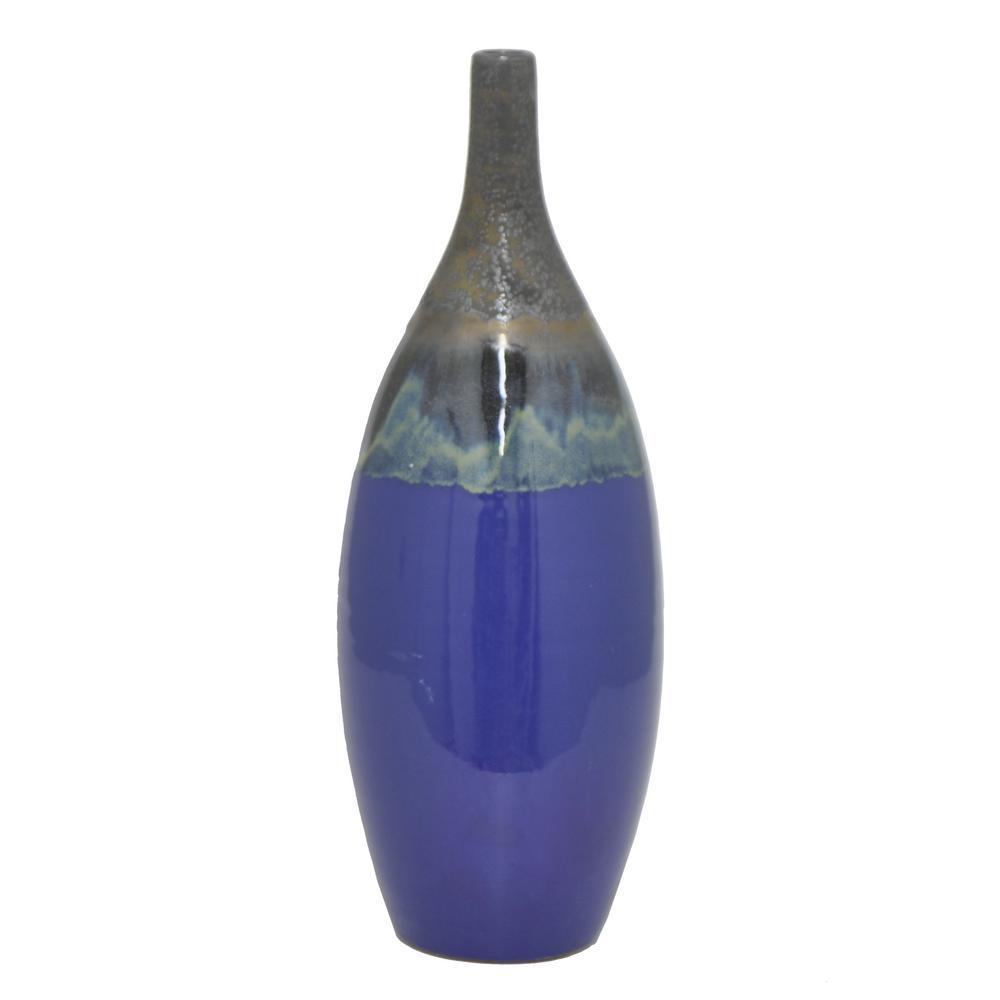20 in. Blue Ceramic Decorative Vase