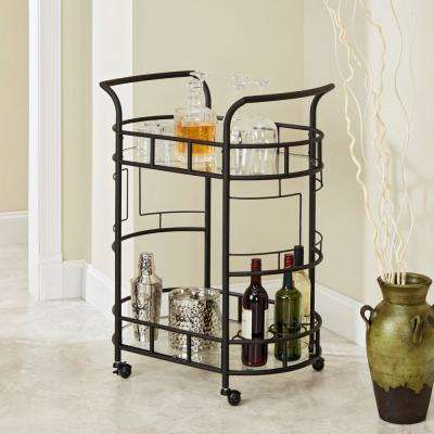 Sinclair 2-Tier Hammered Bronze Serving Cart