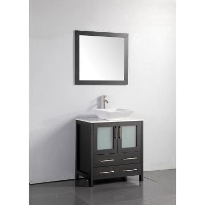 Ravenna 30 in. W x 18.5 in. D x 36 in. H Bathroom Vanity in Espresso with Single Basin Top in White Ceramic and Mirror