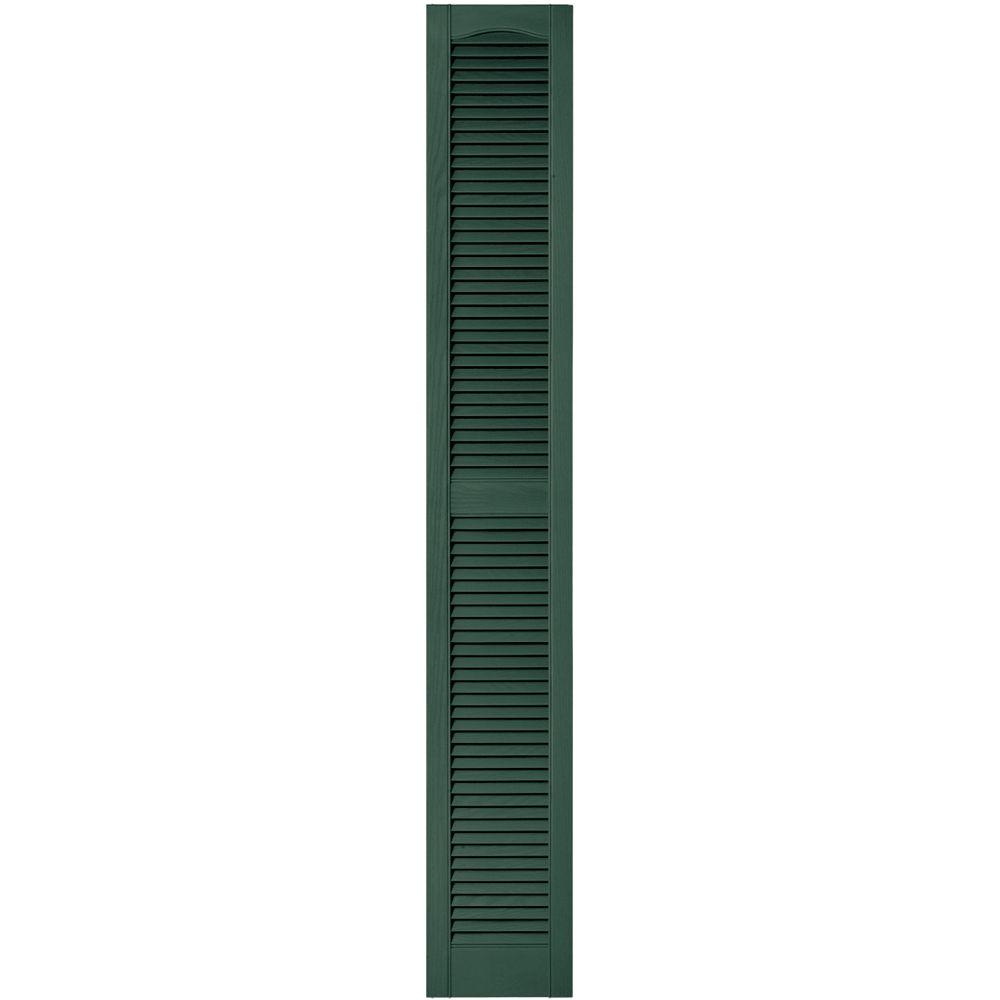 Builders Edge 12 in. x 80 in. Louvered Vinyl Exterior Shutters Pair in #028 Forest Green