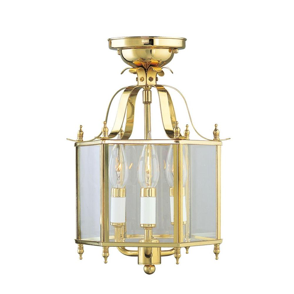 3-Light Polished Brass Chandelier with Clear Beveled Glass Shade