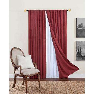 Blackout Liner White Polyester Rod Pocket Curtain Pair (2)