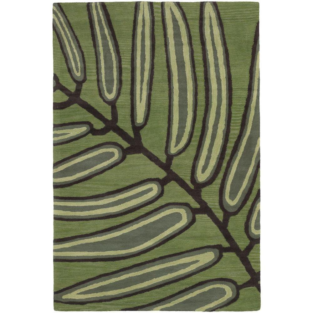 Aschera Green/Dark Brown 8 ft. x 11 ft. Indoor Area Rug
