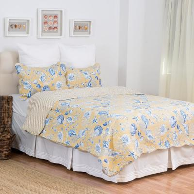 Yellow Taupe Shells Twin Quilt Set