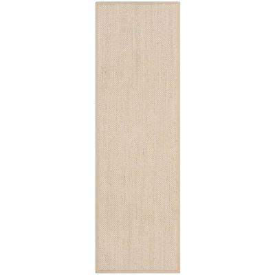 Natural Fiber Marble/Linen 2 ft. 6 in. x 16 ft. Runner Rug