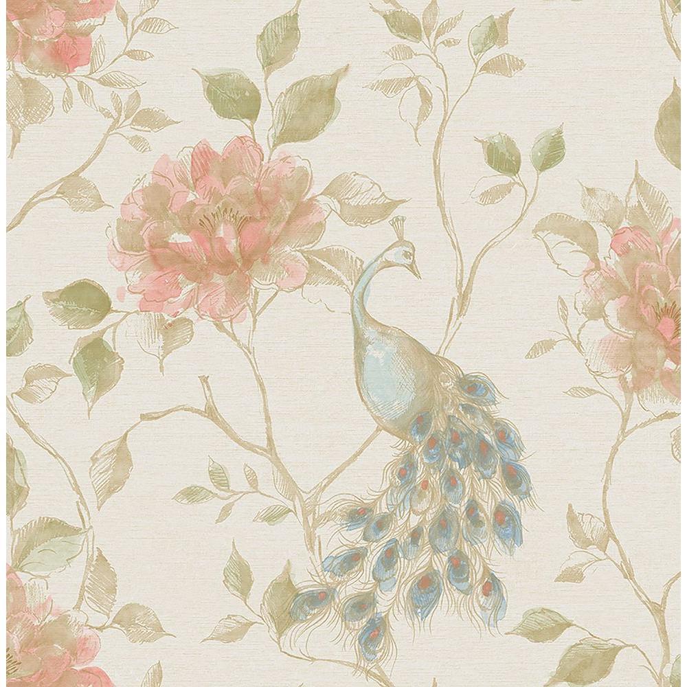 Dynasty Cream Peacock Wallpaper Sample